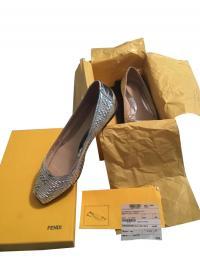 Fendi Silver Metallic Woven Peep Toe Flats Angle2