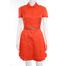 Versace Orange Fully Lined Pleated Trim A Line Dre