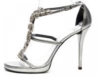 STUART WEITZMAN Silver  Jewel Embellished Heels Si