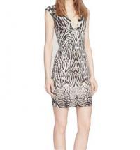 CAVALLI ANIMAL PRINT STRETCH JERSEY DRESS, 2 US, N