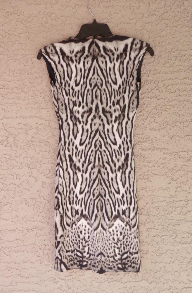 CAVALLI ANIMAL PRINT STRETCH JERSEY DRESS, 2 US, N