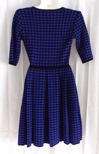 M MISSONI BLUE/BLACK CHECK PRINT KNIT DRESS, US 4 Angle4