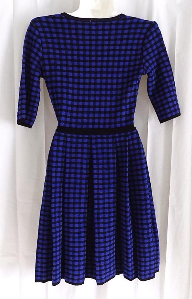 M MISSONI BLUE/BLACK CHECK PRINT KNIT DRESS, US 4