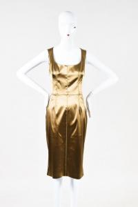 Dolce & Gabbana Gold Stretch Silk Scoop Neck Dress Angle2
