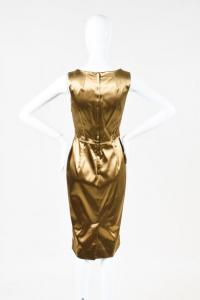 Dolce & Gabbana Gold Stretch Silk Scoop Neck Dress Angle3
