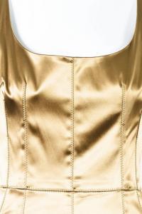 Dolce & Gabbana Gold Stretch Silk Scoop Neck Dress Angle4