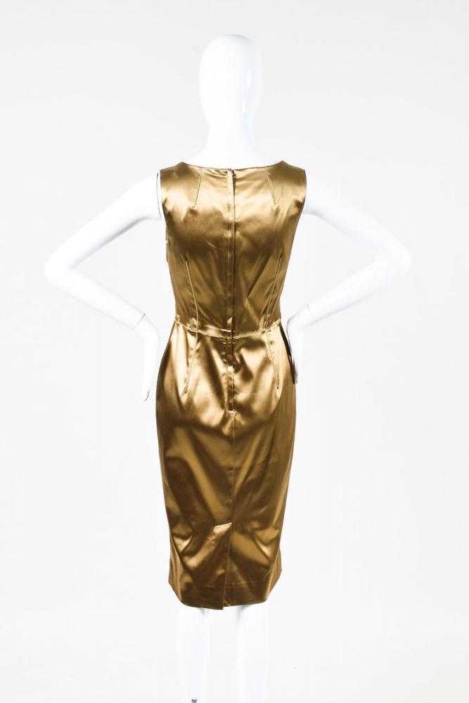 Dolce & Gabbana Gold Stretch Silk Scoop Neck Dress