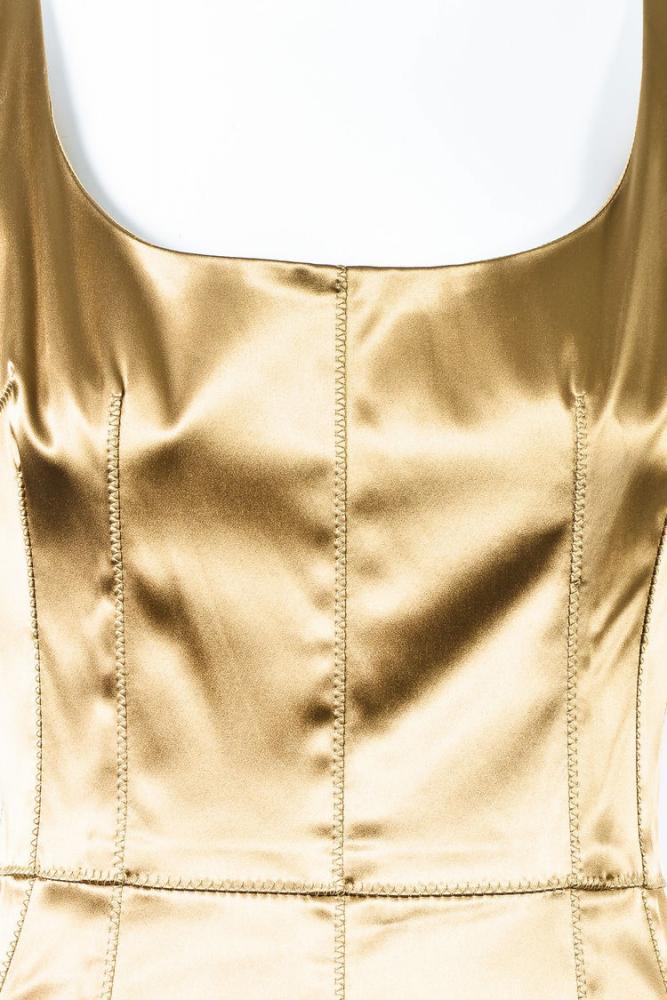Dolce & Gabbana Gold Stretch Silk Scoop Neck Dress