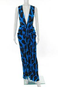 Thakoon Blue Black Cascading Feathers Gown Size 6