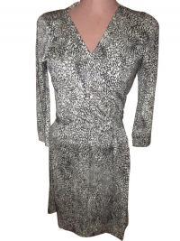 NEW DVF Silk Knit Wrap Around Dress Sz 8  Angle1