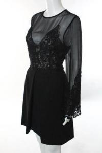 Jill Stuart Black Black Illusion Lace Dress Angle2