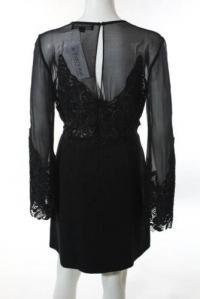 Jill Stuart Black Black Illusion Lace Dress Angle3