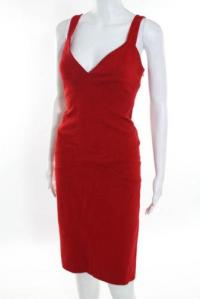 DVF Red Sleeveless V Neck Sheath Dress Size 10 Angle2