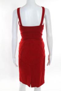 DVF Red Sleeveless V Neck Sheath Dress Size 10 Angle3