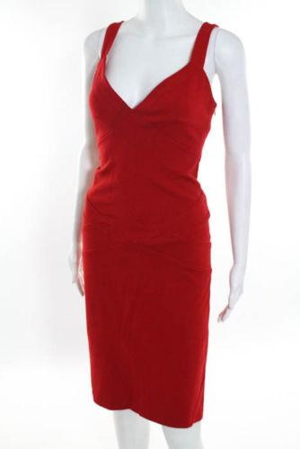 DVF Red Sleeveless V Neck Sheath Dress Size 10