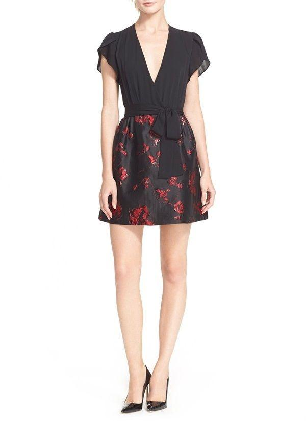 DVF 'IVY' FLORAL BROCADE DRESS, SZ 12,