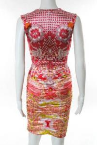 Cavalli Multi-Color Silk Floral Print V Neck Ruche Angle3