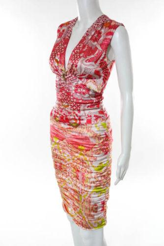 Cavalli Multi-Color Silk Floral Print V Neck Ruche