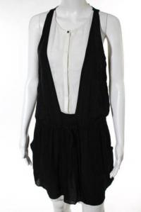 A.L.C. Black White Silk Cinched Waist Dress Size S