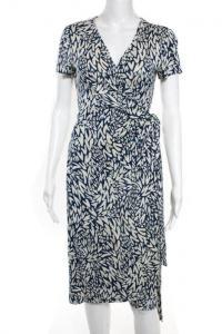 DVF Blue Silk Printed Short Sleeve Wrap Dress Size
