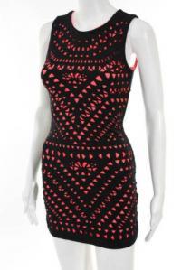 Mara Hoffman Black Pink Knit Bodycon Dress Size XS Angle2