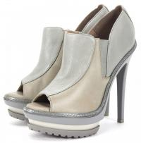 HERVE LEGER NWT Gray Leather Olechka Booties Size