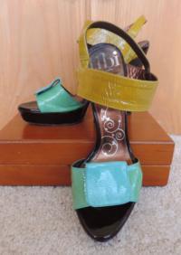 Tibi Bright Color block Sandals Angle2