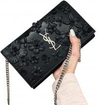 SAINT LAURENT Noir Flower Petal Chain WOC YSL