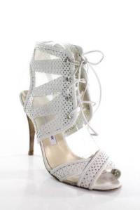 Manolo Blahnik Ivory  Laser Cut Lace Up High Heel