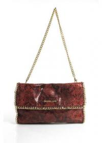 MICHAEL KORS Red Faux Snakeskin Gold Tone Chain Angle1