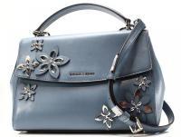 Michael Kors  Blue leathe  Flowers Ava Satchel bag