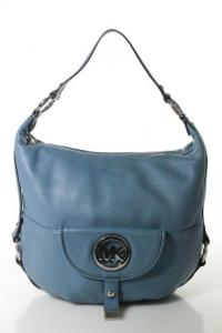Michael Kors Blue Pebbled  Silver Tone Shoulder ba
