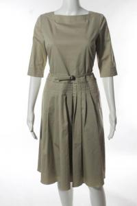 Elie Tahari Beige Cotton Boat Neck Pleated Belted  Angle4
