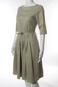 Elie Tahari Beige Cotton Boat Neck Pleated Belted  Angle3