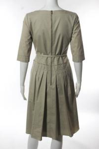 Elie Tahari Beige Cotton Boat Neck Pleated Belted  Angle5