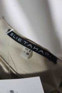 Elie Tahari Beige Cotton Boat Neck Pleated Belted  Angle2