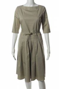 Elie Tahari Beige Cotton Boat Neck Pleated Belted