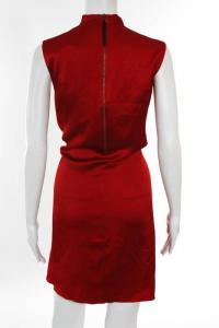 Helmut Lang Red Silk Sleeveless Cowl Neck Dress 6 Angle2