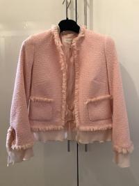 ESCADA Pink Tweed Fringe Jacket Wool Silk Women RA Angle2