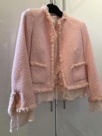 ESCADA Pink Tweed Fringe Jacket Wool Silk Women RA Angle3