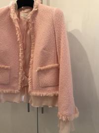 ESCADA Pink Tweed Fringe Jacket Wool Silk Women RA Angle4