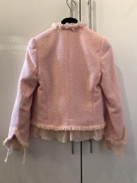 ESCADA Pink Tweed Fringe Jacket Wool Silk Women RA Angle5