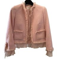 ESCADA Pink Tweed Fringe Jacket Wool Silk Women RA
