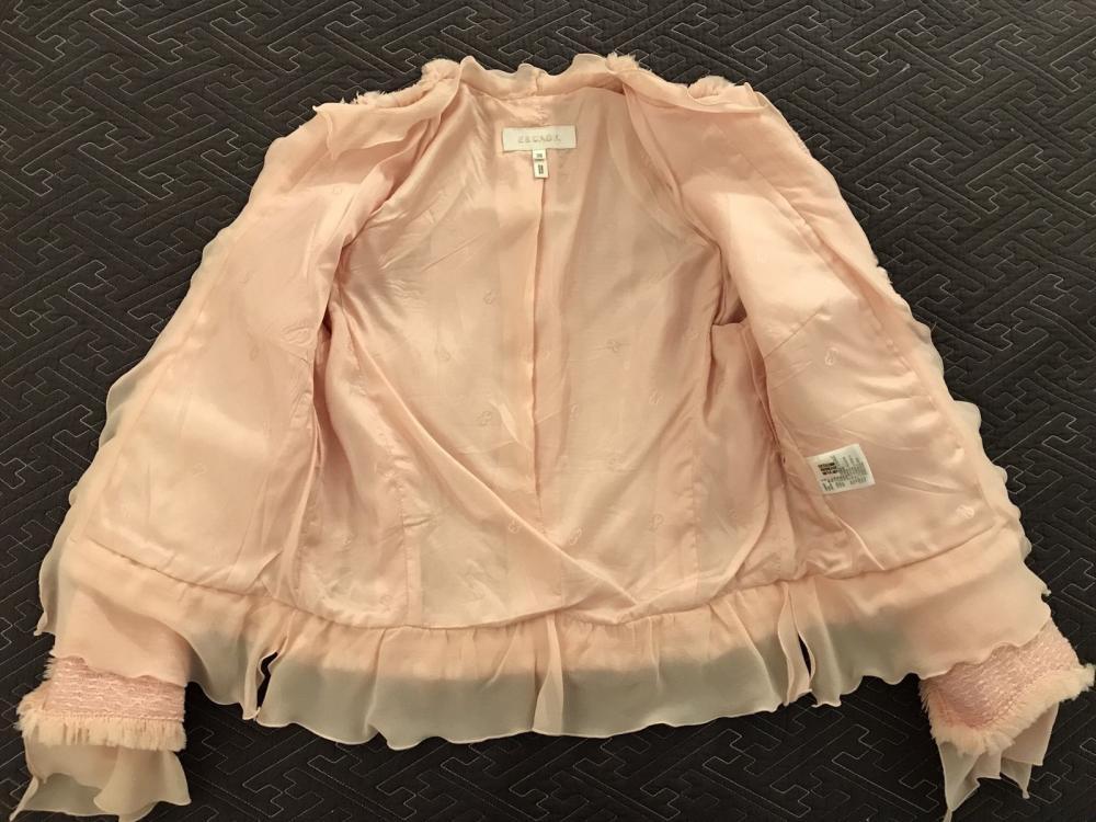 ESCADA Pink Tweed Fringe Jacket Wool Silk Women RA