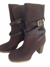 TORY BURCH WOMEN'S  BOOTS BROWN SUEDE SZ 6.5