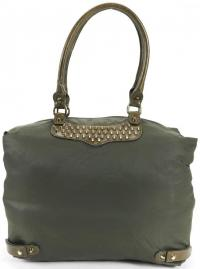 REBECCA MINKOFF Army Green Nylon Gold Studs Embell Angle3