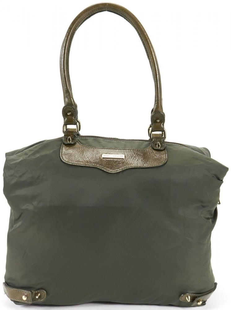 REBECCA MINKOFF Army Green Nylon Gold Studs Embell