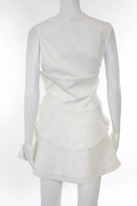 IRO White Sleeveless Frayed Trim V-Neck Layered Dr
