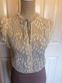 Alice By Temperley Taupe and Cream Lace Dress. UK  Angle3