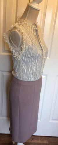 Alice By Temperley Taupe and Cream Lace Dress. UK  Angle2